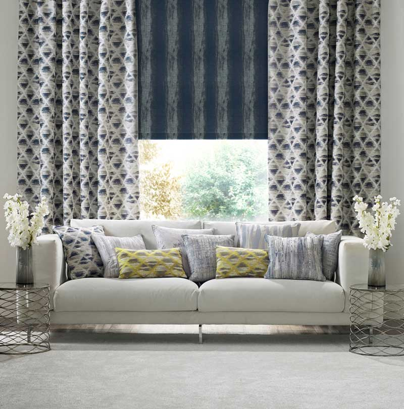 navy coloured curtains in living room
